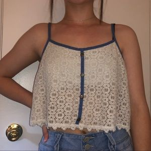 sheer top white and blue w buttons